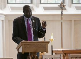 South Sudanese Ambassador Akec Khoc speaks at Duke Divinity School on 'Food Security in Africa: The Case for South Sudan.'