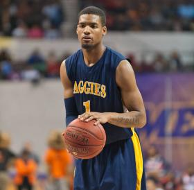 NC A & T basketball player Adrian Powell at the free throw line.