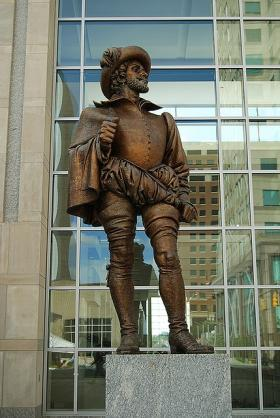 Bronze statue of Sir Walter Ralegh outside the Raleigh Convention Center.