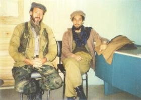 Terence White and mujahideen guerrilla leader Commander Ahmad Shah Masood in 1998.
