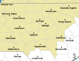 The National Weather Service in Raleigh says much of central and western North Carolina are under a hazardous weather outlook for Wednesday.