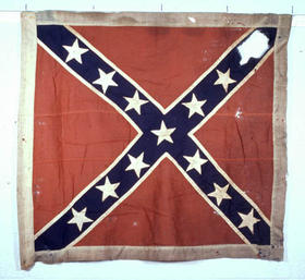The confederate flag with a star cut out, preserved for the NC Museum of History.