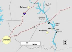 Map of Alcoa's dams on Yadkin River.