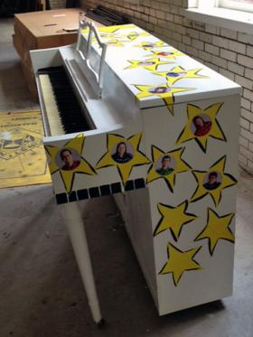 One of the decorated pianos being used for Artsplosure's Raleigh Street Piano Project.
