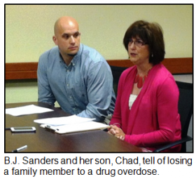 B.J. Sanders and her son Chad tell of losing a family member to a drug overdose.