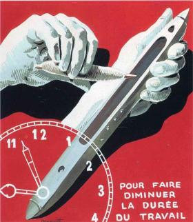 ILLUSTRATION: Poster: The center of textile workers in Belgium (to reduce working hours)