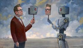 Illustration: A man and a robot