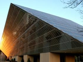 BlueCross BlueShield NC's Chapel Hill headquarters, a rhomboid-shaped glass building built in 1973.