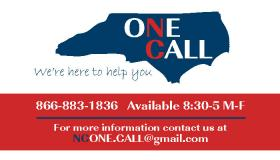 Logo for ONE CALL, an HIV call center.