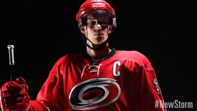 Eric Staal in the Carolina Hurricanes' new uniform, NHL