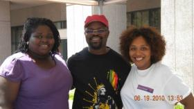 Study Coordinator Randy Rogers at Juneteenth Festival with research associates Kim Gibson and Alexandria Horne