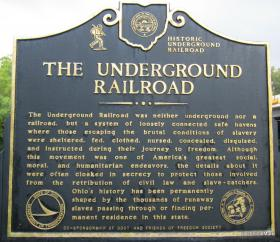 An underground railroad marker in Ohio.