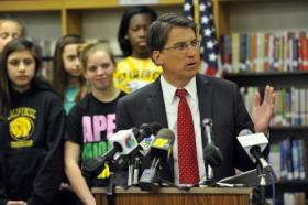 Pat McCrory at a middle school earlier this year.