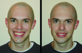 Marianne LaFrance, a psychologist at Yale, makes a comparison between a genuine smile (left) and a fake smile (right).