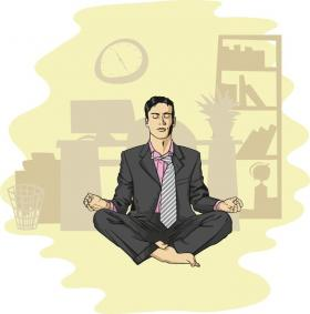 Illustration: Man meditating in an office