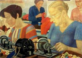 Painting: Record Breaking Workers at the Factory Krasnaya Zaria by Pavel Filonov