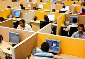 Photo: Cubicles in a call center in India