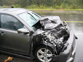 A wrecked car in Mecklenburg County, which had the highest total number of fatal crashes in 2012.