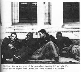 March 1964: the Holy Week fasters. James Foushee is on the far right. Others, from L to R, are Patrick Cusick, LaVert Taylor and John Dunne.