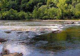 The Tuckasegee River at Bryson City, North Carolina.