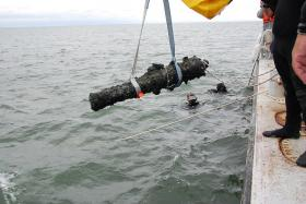 A cannon raised from Blackbeard's Queen Anne Revenge on Friday, August 16, 2013.