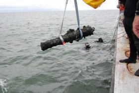 A cannon raised from Blackbeard's Queen Anne Revenge on Friday, August 16, 2013.