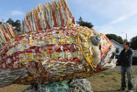 A giant fish made out of plastic debris by artist Angela Haseltine Pozzi.