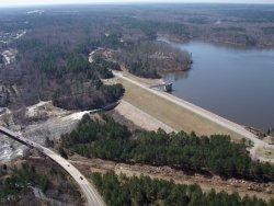 This is an aerial picture of the Falls Lake Dam near Raleigh.  City officials plan to replace four dams in the city other than this one next year.