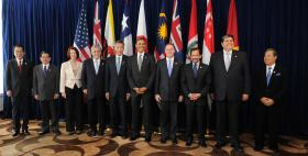 The leaders of the Trans-Pacific Partnership member states.
