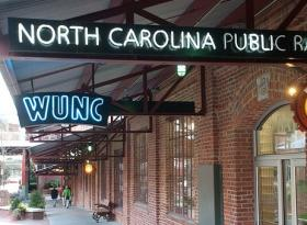 Brick building, WUNC sign