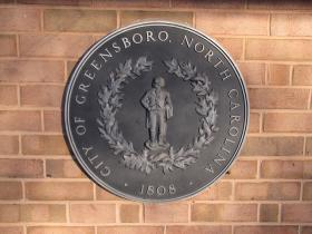 Greensboro City Seal  Benjamin Branch Library, Greensboro, NC