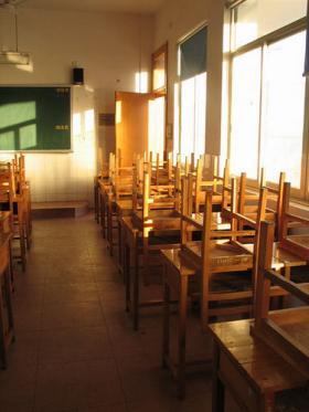 Photo of student desks and chairs
