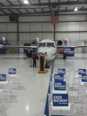 Zack Matheny announced his candidacy for Congress Monday. His Two of his children were on hand at the announcement where Matheny emphasized aviation, hard work and common sense.