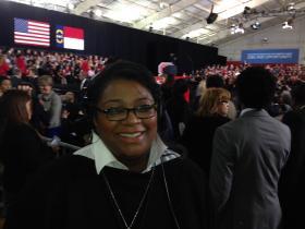 Leoneda Ingle reporting on Obama visit