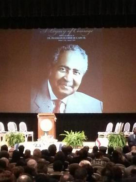 Close to 1,000 people celebrated the life of Franklin Eugene McCain inside of Harrison Auditorium on the North Carolina A&T campus