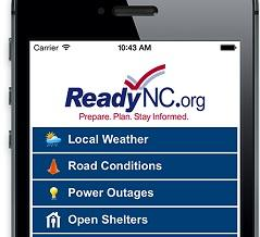 The ReadyNC app is for Android and iPhone