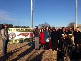The state's NAACP along with other civil rights groups held a press conference Thursday afternoon outside East Wake High School.