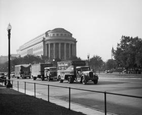 The treasures were trucked back to Washington, with police escort, at the end of the war.
