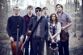 Left to right: Christian Adams - cello / Nathan Spain - drums / Peter Vance - guitar and vocals / Gabriel Reynolds - piano and vocals / Mary Koenig - vocals and auxiliary percussion / Eli Howells - violin