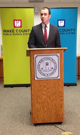 Broughton High School teacher Lee Quinn speaks out against the 25 percent mandate.