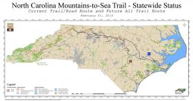A map of the statewide status of the Mountains-to-Sea Trail