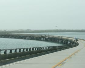 A picture of the Bonner Bridge over the Oregon Inlet.