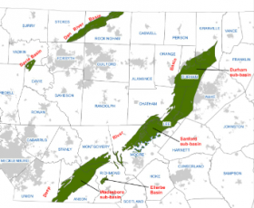 A map of Triassic basins in NC.