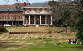 Students on a lawn at N.C. State University