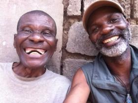 Godi Godar (right) with a man from the Lac Tumba region, DRC