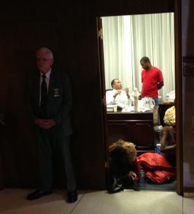 The scene in House Speaker Thom Thillis' office in the middle of the night.