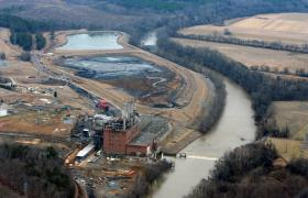 Duke Energy's coal-burning plant and the adjacent coal ash ponds by the Dan River.