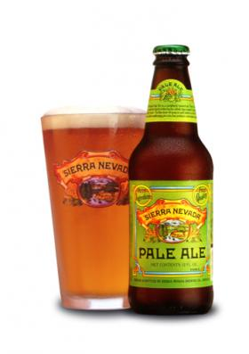 A picture of a bottle and a pint of Sierra Nevada Pale Ale.