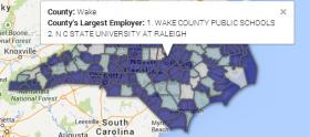Interactive county map with Wake County highlighted