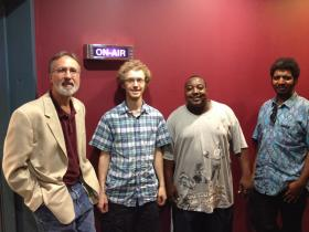 Host Frank Stasio (left) with (from L to R) Kenny Phelps-McKeown, Atiba Rorie, and Will Darity, the members of Africa Unplugged.